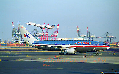 """American Airlines Airbus A300 N90070 at EWR in March 2004 8""""x12"""" Color Print JS"""