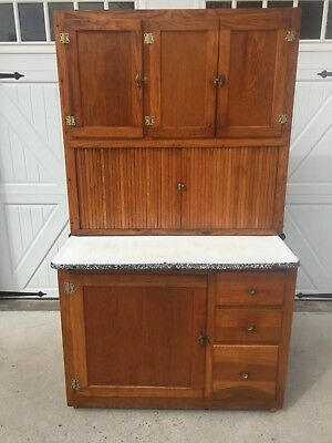 Oak Hoosier Kitchen Cabinet Cupboard - Antique