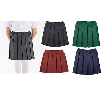 UK New Girls School Uniform Skirt Kids Box Pleated Elasticated Waist Age 2-18Yrs