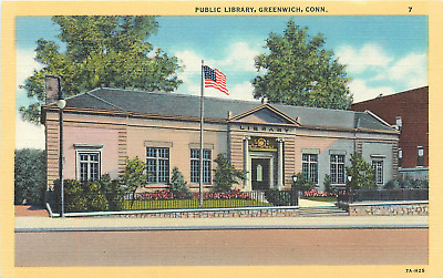 Greenwich Ct Public Library 1937 Linen Postcard