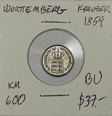 Wurttemberg Kreuzer 1859. Brilliant Uncirculated. KM 600. Only 50,000 minted!