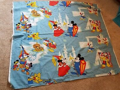 Vintage Walt Disney World Mickey Donald Curtain Panel Fabric 45 by 40 inches