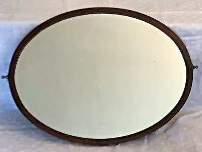 Large Vintage/Antique Dressing Table Mirror – Oval - Wooden Backing Heavy