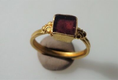Byzantine Gold Ring with Garnet put in Deep Square Bezel.Circa 6th-9th c AD.