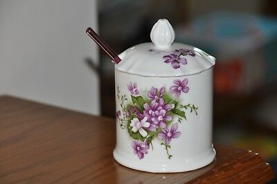 Vintage 1980 Seymour Mann Victorian Violets Jam Jar And Clear Violet Glass Spoon
