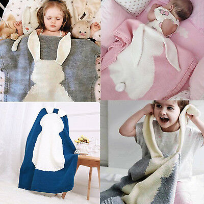 Bunny Kids Baby Napping Knitted Blanket Rabbit Bedding Towel Cover Throws Wrap