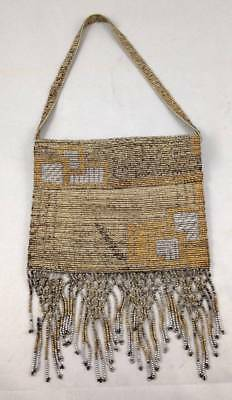 Antique French Made Metal Micro Beaded Bead Bag Purse Roaring 20s Fringe
