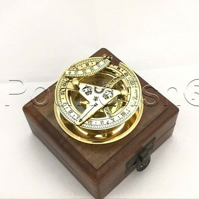 "3"" SOLID BRASS SUNDIAL COMPASS - West London- With Wooden Box"