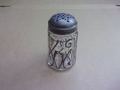 Antique Silver Overlay Heavy Hand Blown Shaker