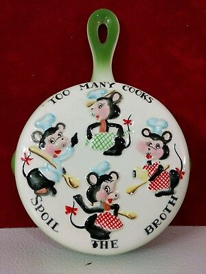 Vtg Lefton Kitchen Frying Pan Wall Pocket Planter TOO MANY COOKS MOUSE MICE