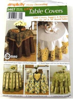 Simplicity 5467 Sewing Pattern Table Covers Toppers And Runners 20 And 30 Inch
