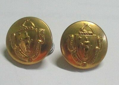Massachusetts State Seal Brass Uniform Buttons Vintage 1 1/8th Inch in Size
