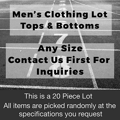Mens Clothing Lot Tops Bottoms All Sizes Available 20 Pieces Send Request First