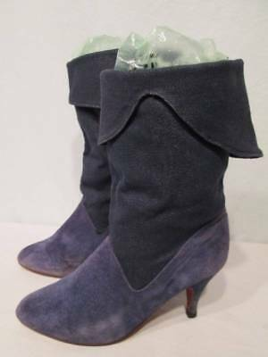 96602bb4d1164 VINTAGE CANDIES BOOTS Blue Suede DENIM Knee Fold Over High Heels 70s 80s 6