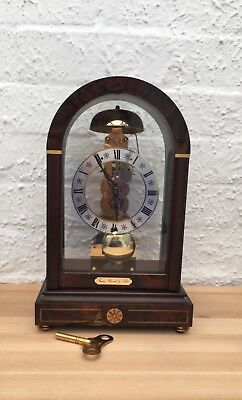 German Franz Hermle & Sohn Skeleton Bell Chime Bracket Walnut Clock Working