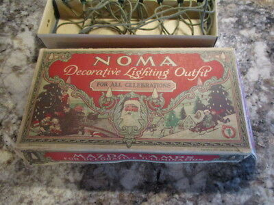 Noma Antique Christmas Decorative Lighting Outfit Dated 1927 Plus Flame Bulbs