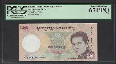 Bhutan 50  Ngultrum 2013  P31b Uncirculated Grade 67