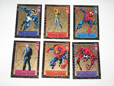 1994 Marvel Amazing Spider-Man Gold Web Insert 6 Card Set! Venom! Jumbo Packs!