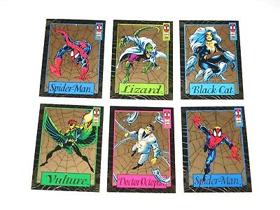 1994 Marvel Amazing Spider-Man Gold Web Insert 6 Card Set Lizard Wal-Mart Packs!