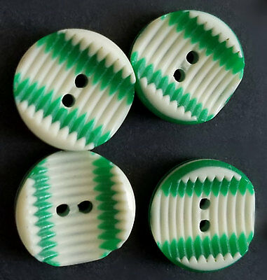 #1R Lot Set 4 Wht & Grns Layers Laminated & Cut Vtg Lea Stein Rhodoid Buttons