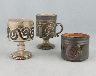 3 X  Pieces Of Briglin Studio Pottery , Pedestal Mug , Goblet & Small Pot