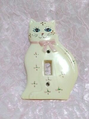 Vintage Ceramic Cat Light Switch Cover Kitty 1989 Taiwan