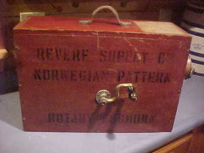 1880s English Rotary Boxed Nautical Foghorn brass handle hand crack