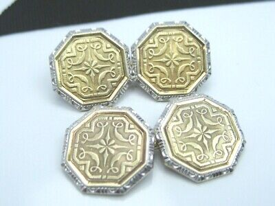 Ornate Antique Victorian Edwardian 14K Gold French Cufflinks Guilloche Engrave