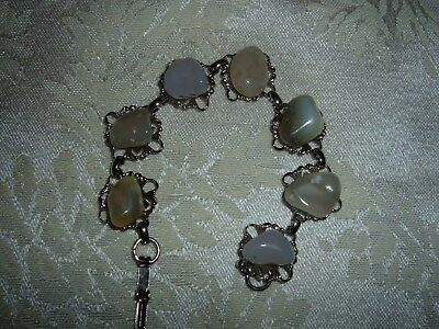 Vintage Silver and Rock Bracelet, Costume Jewelry