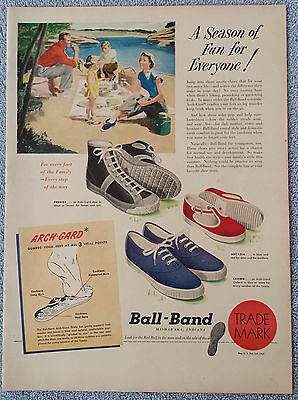 Vintage 1949 Red Ball Shoe Advertisement 1949 Life Magazine One Page Color Ad.