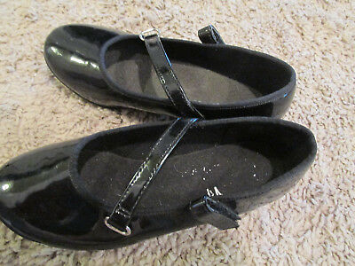 ABT  Girls todderl  Black Patent Leather Tap Shoes Size 11