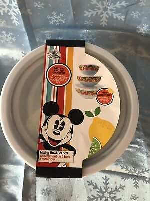 Disney Store Mickey Mouse Mixing Bowl Set of 3 With Lids New Fruit Summer Fun