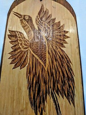 Rustic, PNG, Handmade, Etched Bird of Paradise, Bamboo Wall Hanging
