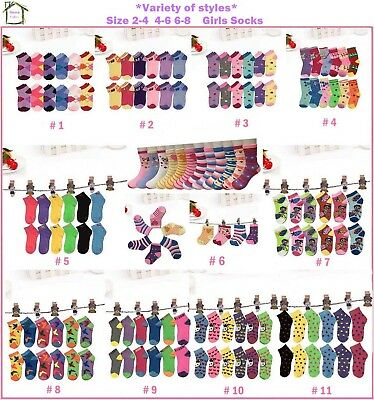 New 6 12 Pairs Variety Styles Multi Color Girls Casual Ankle Socks Size 2-8