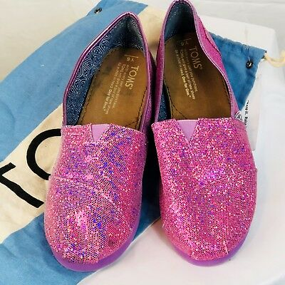 02f7a10ef17 TOMS Girls Pink Sparkle Glitter Flats Shoes Youth 6 Casual Slip On S01