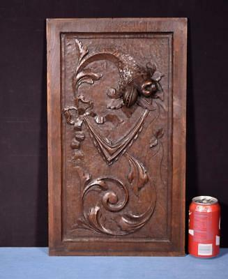 *Antique French Highly Carved Panel in Oak Wood Salvage w/Flowers