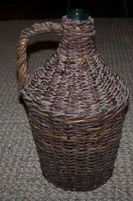 "Vintage Large Demijohn Wicker Rattan Handle Green Wine Liquor Bottle Empty 15"" T"