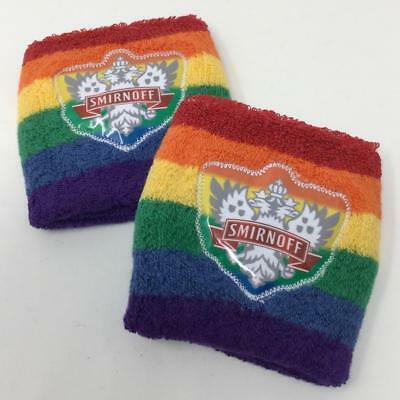 2 Smirnoff Vodka Gay Pride LGBTQ Rainbow Striped Wristband New/Sealed