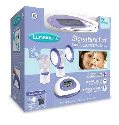 Lansinoh Signature Pro Double Electric Breast Pump BPA BPS Free Clean Milk Baby