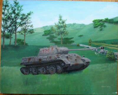Original Art/Tank Painting-German Panther Ausf G WWII-Josh West/Artist-Signed 98