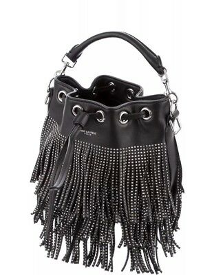 cb03132091b Yves Saint Laurent YSL Black 'emmanuelle' Small Stud Fringe Leather Bucket  Bag