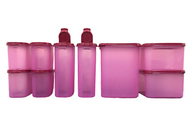 Tupperware Modular Mates Oval Square Pantry Rhubarb Airtight Container Set of 9
