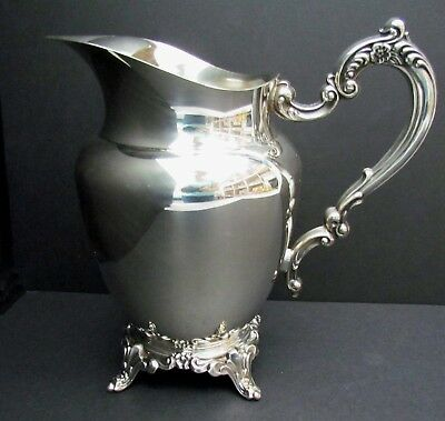 Wm. A Rogers Silverplate Footed Water Pitcher with Ice Lip Royal Provincial 2-Qt