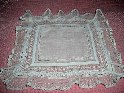 Antique Embroidered Fine Batiste French Lace Insert Edging Wedding Hankie 10""