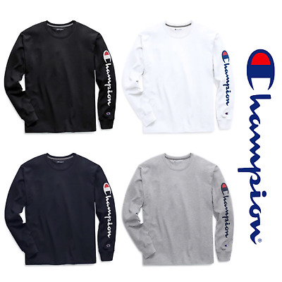 76bd7611 New Authentic Champion Men Jersey Sleeve Script Logo Long Sleeves T-Shirt  GT78H