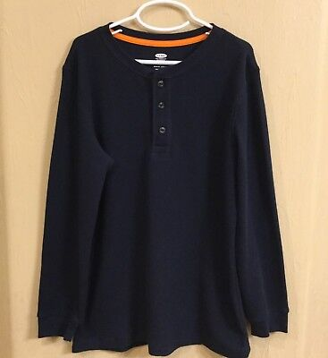 Big Boys Youth Old Navy Blue Thermal Henley Button Long Sleeve Tee Shirt L 10/12