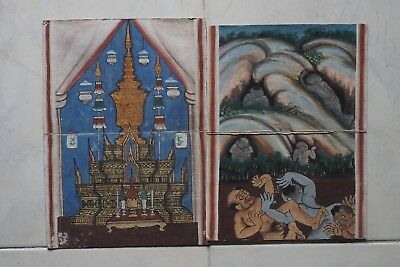 Set Antique Thailand Manuscript Painting from the 19th Century on book  b2