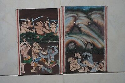 Set Antique Thailand Manuscript Painting from the 19th Century on book  b3