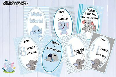 Baby Milestone Cards, Pkt of 35 Cards, Baby Shower Gift, Elephants, Blue, Boys