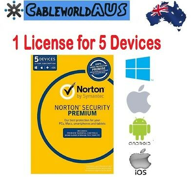 Symantec Norton Security PREMIUM 2018 5 PC Devices Windows Mac Android ID KEY